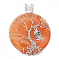 NATURAL STONE - SILVER OWL IN A TREE