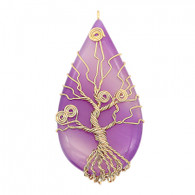 NATURAL STONE - TREE OF LIFE (GOLD-SOFT PURPLE)