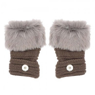 KNITTED GLOVES FINGERLESS PAIR- GRAY