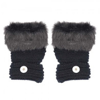 KNITTED GLOVES FINGERLESS PAIR- BLACK