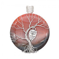 NATURAL STONE - SILVER OWL IN SUNSET