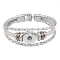 BRACELET - REAL LEATHER (SILVER)