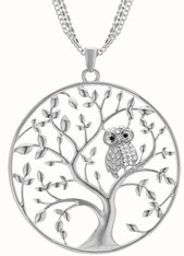 NECKLACE - TREE OF LIFE OWL (SILVER)