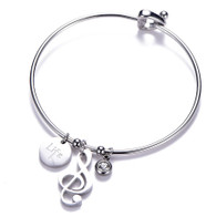 LUXE SS BANGLE - I LOVE MUSIC (SILVER)