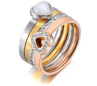 LUXE TRI-COLOR TWO HEARTS RING (316L) S7