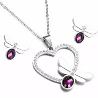 LUXE HEART DRAGONFLY SET (SS- SILVER SPARKLING GRAPE)