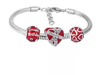 CHARMBEADS (SS) BRACELET SET- RED BIRTHDAY