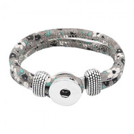 BRACELET PU LEATHER HAPPY COLORS - GRAY IN FLOWERS