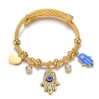(LUXE SS) BLESSED HAMSA WIRE BANGLE (GOLD)