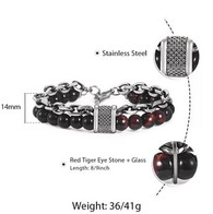 LUXE SS STONES BRACELET - RED EYE TIGER (10)