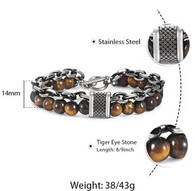 LUXE SS STONES BRACELET - BRIGHT TIGER EYE (10)