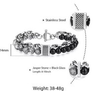 LUXE SS STONES BRACELET - JASPER & BLACK GLASS (9)