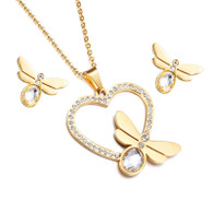 SET LUXE HEART DRAGONFLY  (SSGOLD-CRYSTAL)