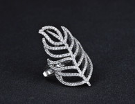 LUXE PAVE LEAF RING (316L) S9