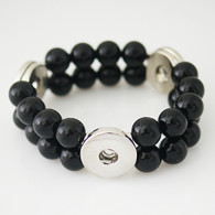 STRETCH OBSIDIAN ONIX DOUBLE BRACELET 3B