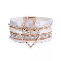 BRACELET MAGNETIC - GOLDEN HEART (WHITE)