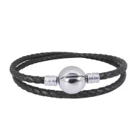 CB DBRACELET - DOUBLE LEATHER (BLACK)