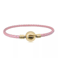 CB SBRACELET  LEATHER (PINK) GOLD
