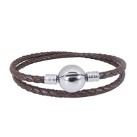 CB DBRACELET - DOUBLE LEATHER (CHOCOLATE)