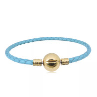 CB SBRACELET  LEATHER (TURQUOISE) GOLD