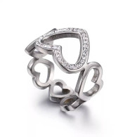 LUXE LINKS HEART RING (316L) SILVER S8