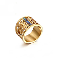 LUXE ESSENTIAL LEAVES RING (316L) S7 GOLD