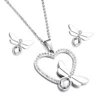 SET LUXE HEART DRAGONFLY  (SS SILVER-PEWTER)
