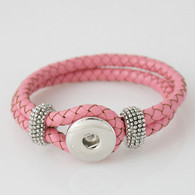PINK ONE BUTTOM BRAIDED LEATHER BRACELET - 21 CM