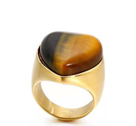 LUXE SS  NATURAL STONE RING - EYE OF TIGER (S7) GOLD