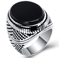 LUXE SS  NATURAL STONE MEN RING - ONIX (S10)