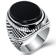 LUXE SS  NATURAL STONE MEN RING - ONIX (S11)