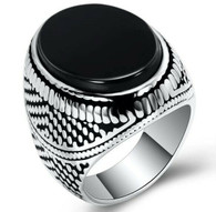LUXE SS  NATURAL STONE MEN RING - ONIX (S12)