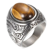 LUXE SS  NATURAL STONE MEN RING - EYE OF TIGER (S14)