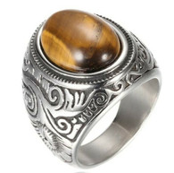 LUXE SS  NATURAL STONE MEN RING - EYE OF TIGER (S12)