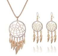 NECKLACE & EARRINGS SET - LEAF DREAM CATCHER (GOLD)