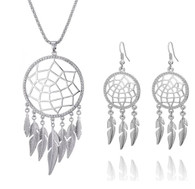 NECKLACE & EARRINGS SET - LEAF DREAM CATCHER (SILVER)
