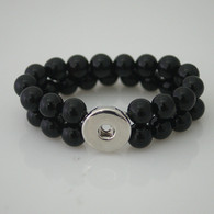 STRETCH OBSIDIAN ONIX DOUBLE BRACELET - ONE