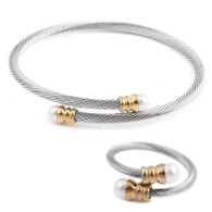 LUXE SS WIRE BANGLE & RING SET - SILVER & GOLD