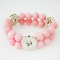 STRETCH MASHAN JADE PINK DOUBLE BRACELET - ONE