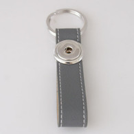 LEATHER STAINLESS STEEL KEYCHAIN - SILVER GRAY