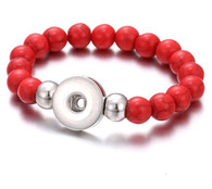 BRACELET - STRETCH NATURAL STONES (RED WOODEN)