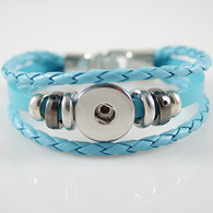 BRACELET - REAL LEATHER (BLUE)