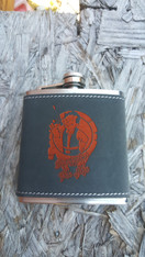 Grey Textured Leatherette Stainless Steel Flask