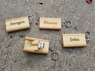 Personalized 8GB Bamboo USB Flash Drive with Keychain