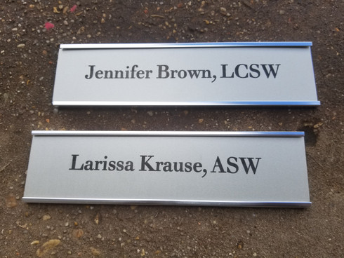 Personalized Engraved Office Wall Name Plate w/ Silver Holder, Employee Name Plate, Cubicle Name Plate, Door Name Plate, Trophy Plate