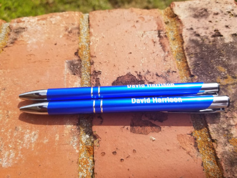 Personalized Metal Pens, Anodized Aluminum Pens, Silver Trim Pens