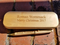 Personalized Engraved Wood Ballpoint Pen Set, Personalized Case, Engraved Pen & Case, Custom Pen Cases, Wood Pen Set, Wedding Gifts