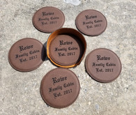 Personalized Engraved Leather Coaster Set with Holder, Custom Coasters, Wedding Coasters, Anniversary Coasters, Housewarming Gift Coasters