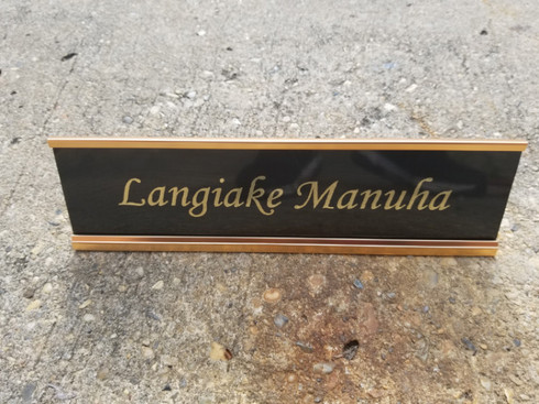 2x8 Personalized Engraved Office Desk Name Plate with Gold Holder, Employee Desk Name Sign, Name Plaque, Custom Desk Name Plaque