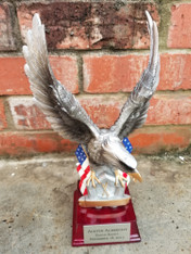 "Personalized Engraved 11"" Eagle and Flag on Resin Base, Military Award, Eagle Scout Trophy, Boy Scout Award, Eagle on Flag Corporate Award"
